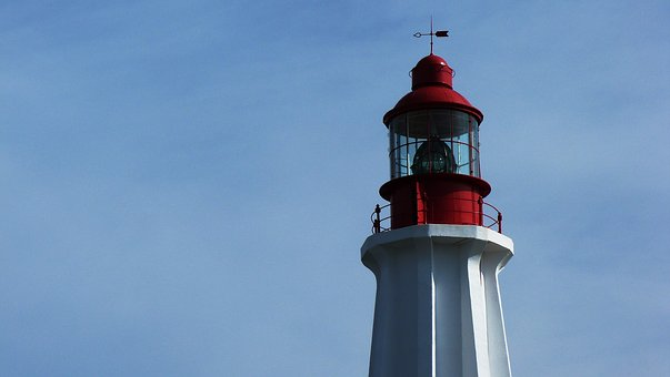 Lighthouse, Air, Cloud, Sky, Light, Duo, Red, White