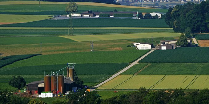 Agriculture, Farm, Silos, Fields, Wide, Dirt Roads
