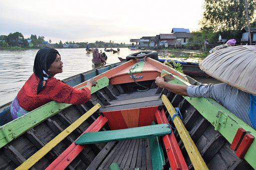 Banjarmasin, Market, Floating, Kalimantan, Travel