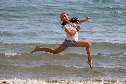 Girl, Jumping, Outdoor, Athletic, Female, Happy, Young