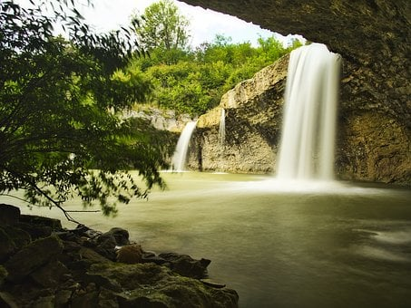 Waterfall, Landscape, Cave, Nature, Waterfalls, Flowing