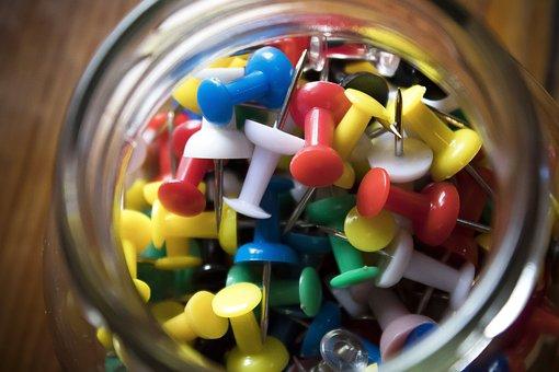 Pin, Needle, White, Black, Yellow, Red, Blue, Glass