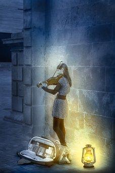 Violinist, Night, Music, Women, Instrument, Twilight