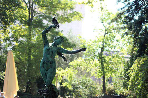 Statue, Green, Paloma, Figure, Sculpture, Women, Bronze