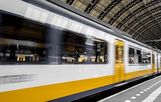 Train, Speed, In Transit, Platform, Train Station
