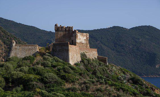 Corsican, Fortress, Girolata, Castle, Defence, Rampart