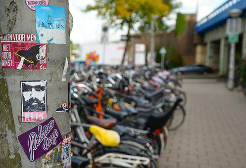 Holland, Bicycles, Parked, Saddle, Stickers, Bicycle