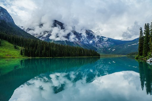 Lake, Canada, Landscape, Nature, Water, Sky, Mountains
