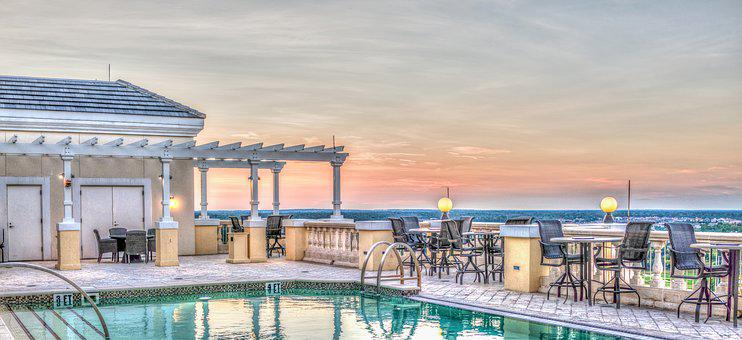 Roof Top Pool, Luxury Hotel, Vacation, Sunset, Holiday