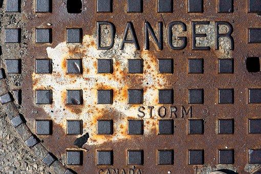 Storm Drain Cover, Urban, Texture, Road, Asphalt, Iron