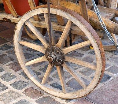 Wheel, Wood, Old, Spokes, Wagon Wheel
