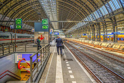 Amsterdam, Central, Train, Station, Man, Walking