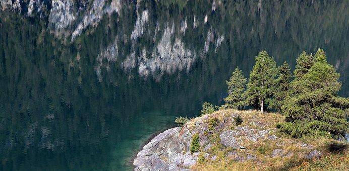 Lake, Mirroring, Water, Island, Landscape, Waters, Mood