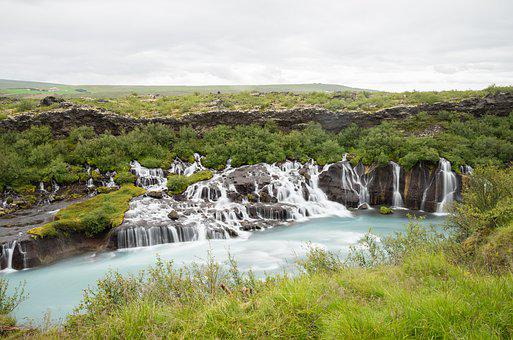 Waterfall, Landscape, Water, Nature, Cascade, Iceland