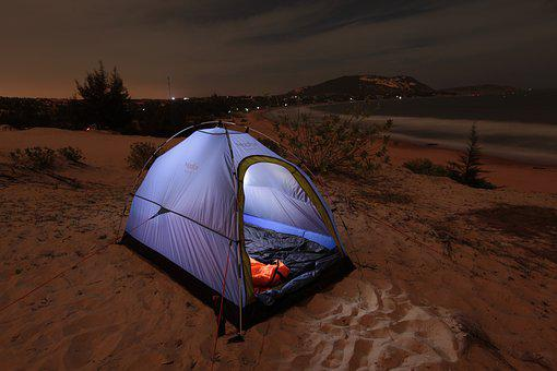 Beach, Camping, Tent
