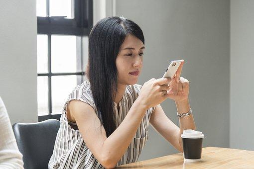 Asian, Beautiful, Cellphone, Chat, Chatting