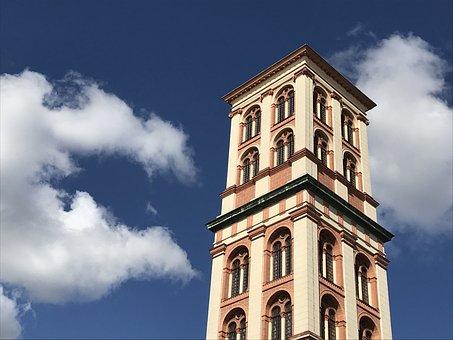 Dessau, Tower, Museum, Sky, Clouds, Blue, City, Center