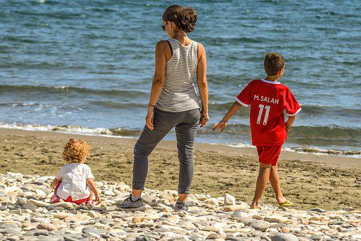 Mother, Children, Family, Outdoors, Beach, Leisure