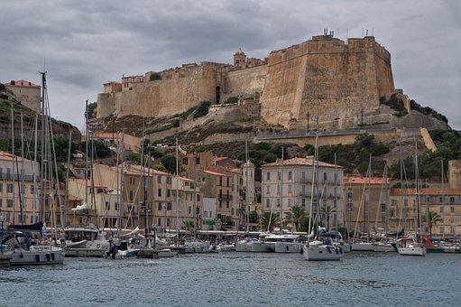 Corsican, Bonifacio, Port, Fortress, Walls, Sailboats