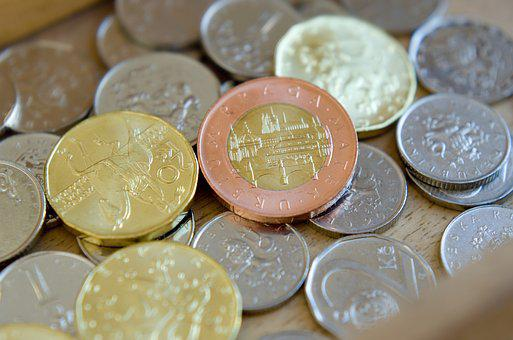 Czech Coins, Coins, Crown, Money, English, Czech