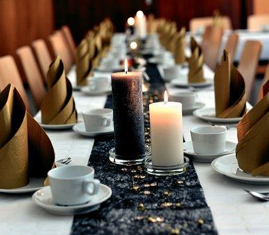 Table, Board, Festive, Candles, Celebration