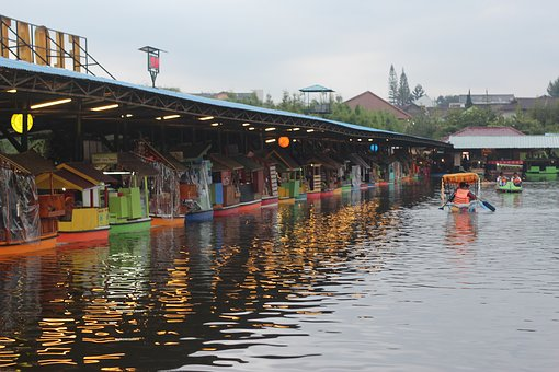 Floating, Lake, Market