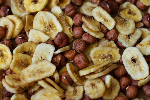 Banana, Nuts, Chips, Food, Fitness, Health, Diet