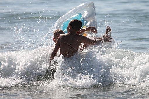 Fun Bathing, Sea, Wave, Air Mattress, Beach, Water