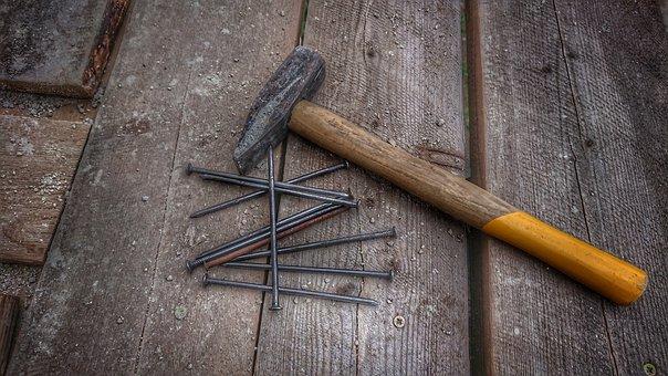 Hammer, Nail, Building, Tool, Work, Wood, Build