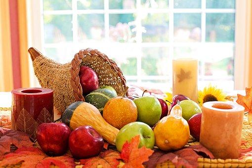Thanksgiving, Cornucopia, Fruit, Autumn, Harvest
