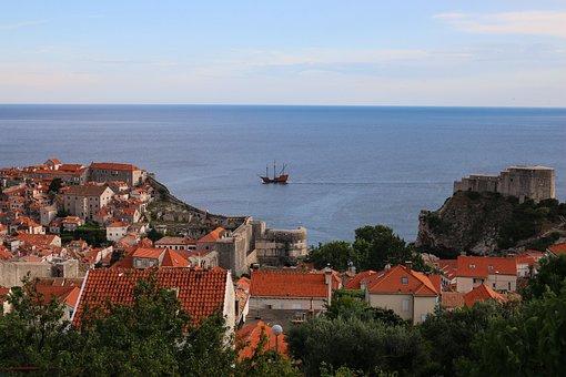 Croatia, Dubrovnik, Sea, Historic Center, Ship