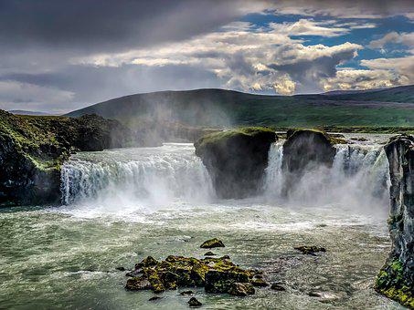 Iceland, Waterfall, Landscape, Figure, Nature, Falls