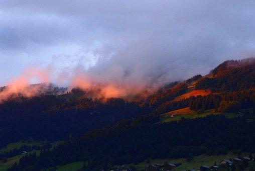 Sunset, Alps, Mist, Nature, Landscape, Mountain, Sky