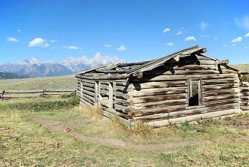 Gros Ventre Cabin, Log, Cabin, House, Mountains
