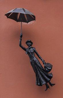 Signboard, Umbrella, Woman, Cute, Symbol, Logo
