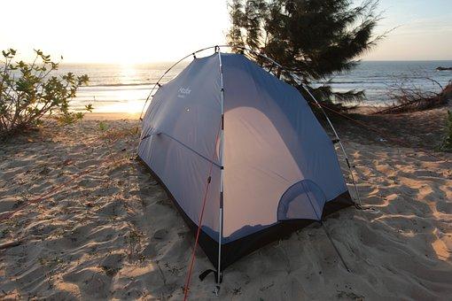 Beach, Camping, Tent, Morning Ocean