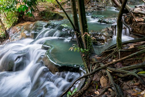 Hot Spring, Waterfall, Stream, Outdoor, Nature, Water