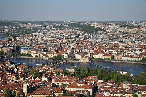 View, Petrin Tower, Prague, Bridge Of San Carlos