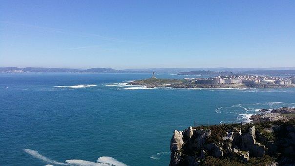 Sea City, Water, Day, Blue Sky, Rocks, Shore, Nature