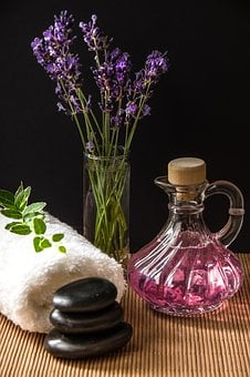 Wellness, Carafe, Purple, Towel, Rolled, Herbs, Bamboo