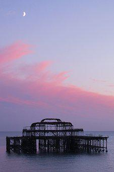 Sunset, Sea, Brighton Pier, Brighton, Uk, Seaside, Pier