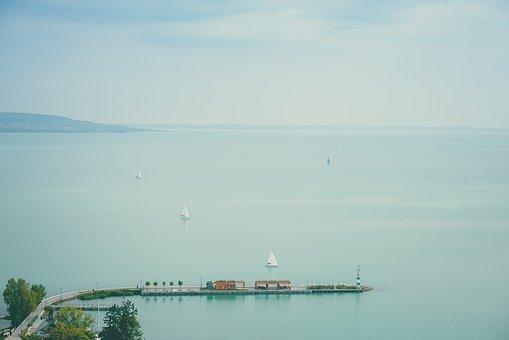 Lake Balaton, Tihany, Port, Ships, Sailboats, Water