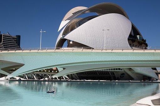 Valencia, Building, Architecture, Fountain, Pool, Blue