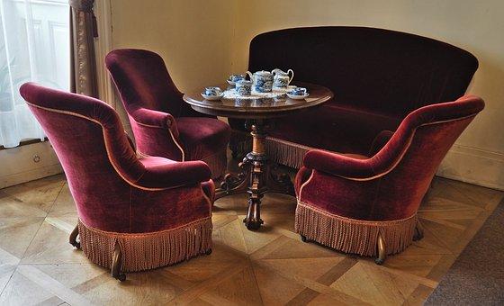 Sofa, Arm Chair, Velvet, Old Style, Interior Design