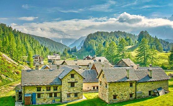 Village, Alpine, Mountains, Landscape, Nature, Vista