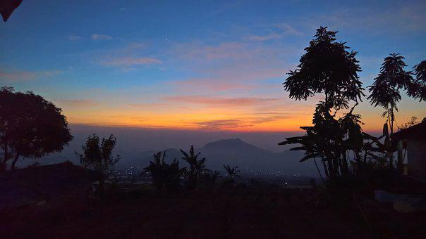 Sunrise, West Java, Morning, Sky, Indonesia, Asia, Red