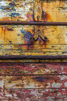 Texture, Wood, Peeling Paint, Red, Yellow, Surface, Old