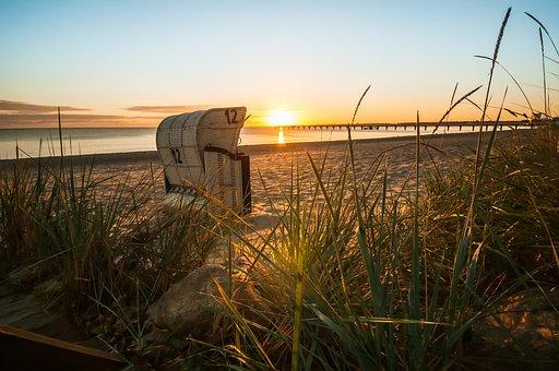 Beach Chair, Sunrise, Beach, Baltic Sea, Germany