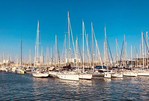 Boat, Sea, Spain, Barcelona, Port, Water