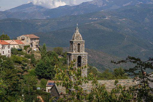 Corsican, Village, Church, Bell Tower, Mountains